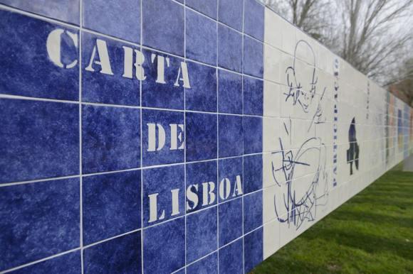 Painel Carta de Lisboa Eduardo Batarda Julio Pomar Sofia Areal Manuel Vieira Azulejo
